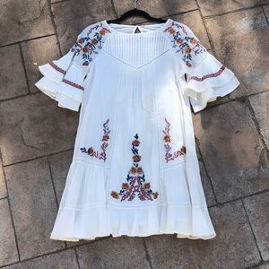 Free People White Embroidered Dress